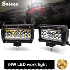 "2x 5"" 84W 4-row LED Light Bar 6000K driving worklights spot beam for auto lamp"