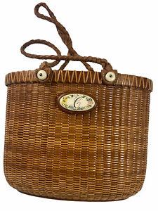 Nantucket Oval Woven Basket Leather Handles Sandy Beaulieu Ivory Crimmins
