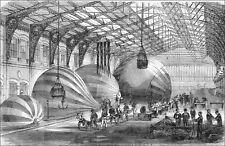 GUERRE de 1870 : MANUFACTURE de BALLONS DIRIGEABLES (MONTGOLFIÈRE) - Gravure 19e