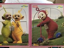 Set of 2 Vintage TELETUBBIES PLAYSKOOL Wood Board Frame Puzzles TINKY WINKY + PO