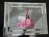 Crushed Diamond Chopping Board Crystal Filled Silver Moet Chandon Champagn30x40