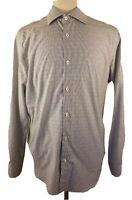 Mens 16.5 Bugatchi Uomo L/S Dress Shirt Button Front Stripes Gray White 34/35
