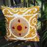 Indian Handmade SUZANI Cushion Cover Golden Pillow Cases Embroidered Decorative