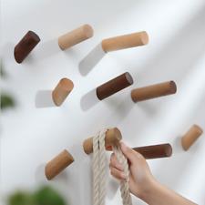 Natural Cylindrical Wooden Wall Mounted Clothes Coat Hat Door Hooks Hanger Racks