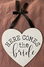 """New Wooden Here Comes The Bride Wedding Bridal Sign Decor Heart Shaped 11.63x11"""""""