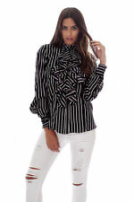 Unbranded Women's Striped Collared Hip Length Tops & Shirts