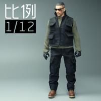 """1/12 Scale MEZCO Black Pants Combat Trousers Model Soldier Clothes Fit 6"""" Figure"""