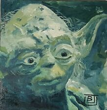 """Star Wars Yoda Original Art Stretched Canvas Oil Painting 10""""×10"""""""