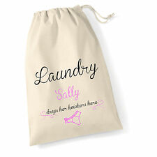 LARGE PERSONALISED FUNNY VINTAGE STYLE COTTON  WOMENS LAUNDRY SACK 50 X 40cm