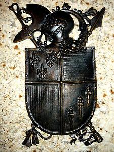 Shield Wall Plaque, Metal Art, Old World, Medieval, Fleur de Lis, Knight, Cross