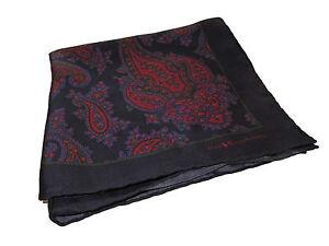 Ralph Lauren Silk Navy Blue Paisley Polo Pocket Square Scarf