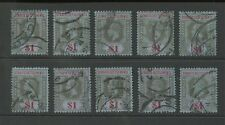 STRAITS SETTLEMENTS KG5 1914 $1...10 stamps VERY GOOD USED SG210 cv £150...Lot 3