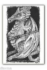 "© ART - Ltd.Ed "" Dragon Drawing ""  ACEO ATC Artist collector trading card by Di"