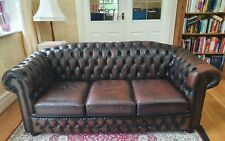 Brown Leather Chesterfield Sofa 3 seater - Collection Only