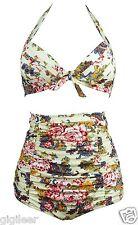 Gigileer Bikini High-Waist Blumen Retro Damen Bademode weiß 40 42 44 46 48 50 de