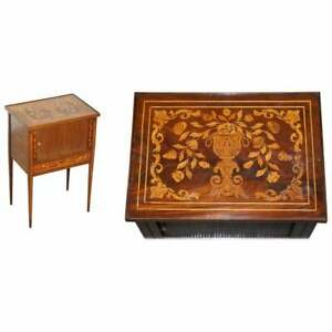 RARE 19TH CENTURY DUTCH MARQUETRY INLAID SIDE TABLE WITH TAMBOUR FRONTED DOOR