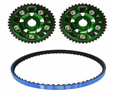 VMS 93-01 HONDA PRELUDE H22 GATES RACING TIMING BELT T226RB 2 CAM GEARS GREEN