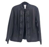 Chicos Size 3 Embroidered Black Blazer Jean Jacket Sparkle