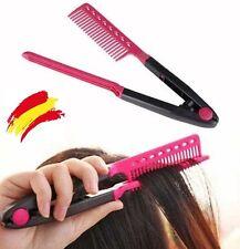 Peine termico V  pinza  plancha alisar pelo cepillo Hairdressing  comb