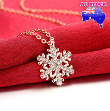 Classic Wholesale 18K Rose Gold Filled Clear Crystal Snowflake Necklace Pendant