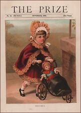 Girl Giving Her Doll Carriage, Buggy Ride, antique chromolithograph, print 1888
