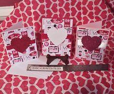 VALENTINE'S DAY HANDMADE GREETING  CARDS SET OF 3~BE MY VALENTINE GLITTER HEARTS