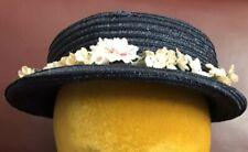 Vtg 50s Navy Blue Garden Mini Brim Church Garden Party Dress Hat Msc Size 22