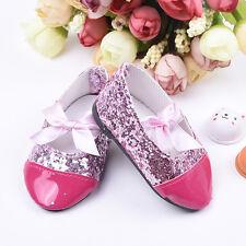 Handmade Rosa Pailletten Schuhe Für 18inch Doll Party Geschenk