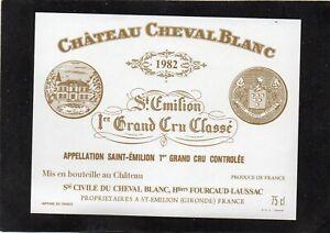 SAINT EMILION 1ER GCC VIEILLE ETIQUETTE CHATEAU CHEVAL BLANC 1982 RARE§23/03/18§