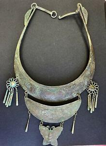 Antique Beautiful OLD Palestine Ottoman Hmong Hand Made Silver Charm Necklace R2