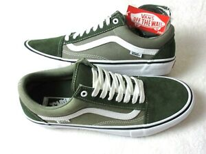Vans Mens Old Skool Pro Forest Green White Canvas Suede Skate Shoes Size 12 NEW