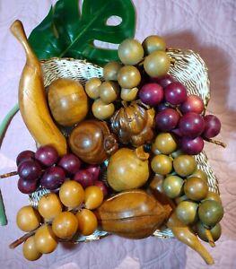 Vintage Wooden Fruit Mid Century Modern Decor Monkey Pod Wood
