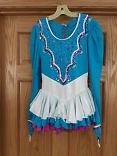 Reduced-Glitsy Hand Beaded Competition Ice Figure Skating Dress Girls, Size 8-10