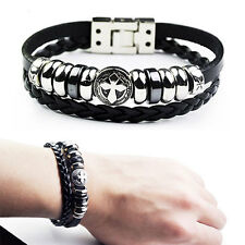 Men's COOL Leather Stainless Steel Cross Braided Wrist Band Bracelet Cuff Bangle
