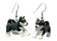 New NORTHERN ROSE Porcelain Earrings SIBERIAN HUSKY DOG Figurine Figure Jewelry