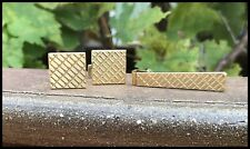 Vintage Solid 18k Yellow Gold Cufflinks+Tie Clip Clasp Bar 23.8gms Very Classy