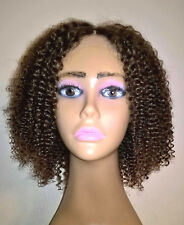 "12"" 7A Brazilian #3 Kinky Curly Silk Top 150% Density Thin Skin PU Full Lace Wig"
