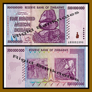 consecutive 10 x Zimbabwe 500 million Dollar banknotes-About UNC-AB prefix
