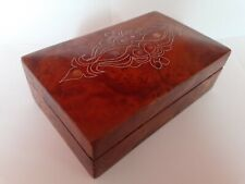 BURR WOOD BOX WITH MOTHER OF PEARL & WHITE METAL INLAY, IDEAL JEWELLERY BOX ?