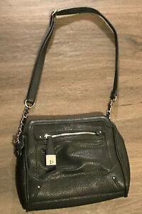Nicole Miller Black Vegan Leather Shoulder Bag Purse