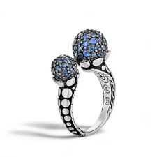 JOHN HARDY Dot Silver Lava Ring with Blue Sapphire Size 7