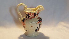 Orange & blue flower vintage pre Victorian antique Gaudy Welsh swan handle jug