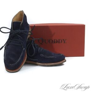 Quoddy Made in Maine Wabanaki Navy Indigo Sueded Hand Built Moccasin Shoes 8 NR