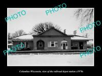 OLD LARGE HISTORIC PHOTO OF COLUMBUS WISCONSIN, THE RAILROAD DEPOT STATION c1970