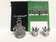 KK-GB  CROWN SKULLS GUARDIAN BELL- KUSTOM KAPZ valve caps gremlin harley bike 1