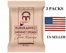 3 PACKS Kurukahveci Mehmet Efendi Turkish Coffee 100gr 3.53oz Pack Fresh