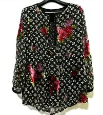 Printed Silk Boho Top With Floral VELOUR Prints