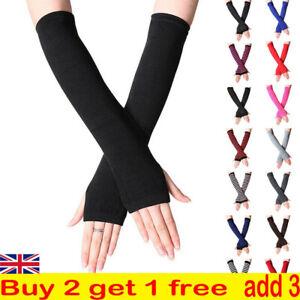 Women Wrist Arm Knitted Mitten Gloves Ladies Fingerless Warmers Hand Winter Long