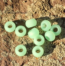 Large Hole Rondelle Beads,14mm, Opaque Seafoam Green w/Matte Finish, 4 Pcs, 0048
