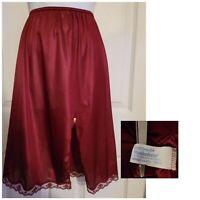 Vintage Maidenform Delectables Half-Slip Satin Skirt Front Slit Maroon #65001 SM